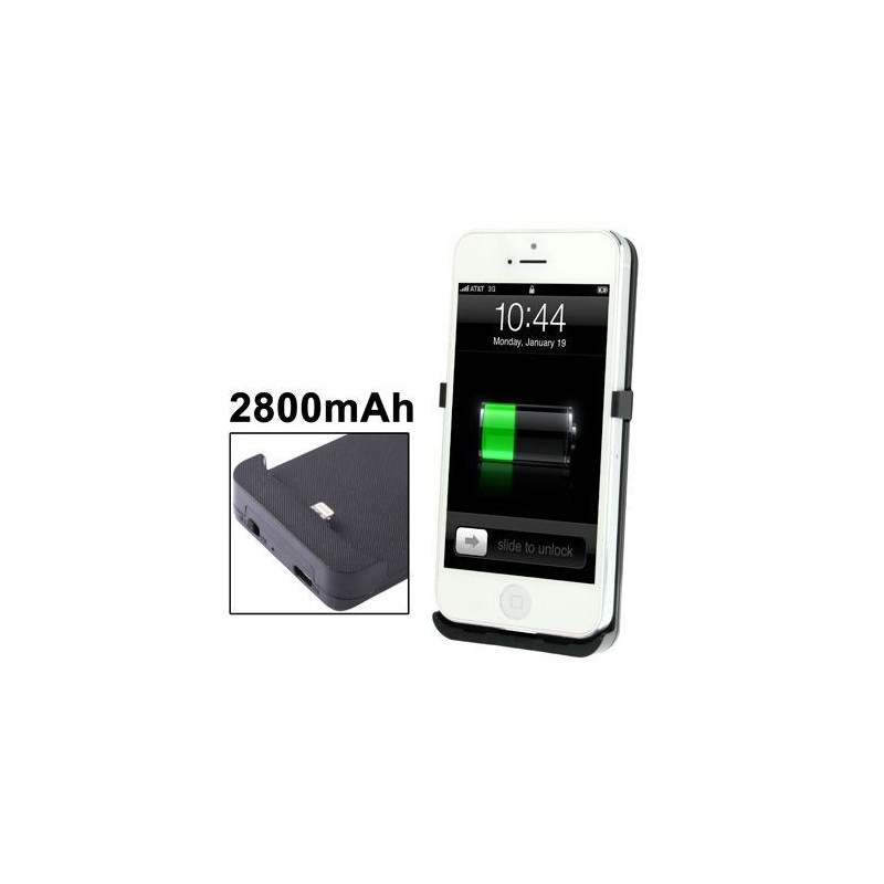 batterie coque iphone 5 chargeur 2800 mah noir. Black Bedroom Furniture Sets. Home Design Ideas