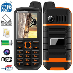 Téléphone antichoc double SIM waterproof portable chantier orange