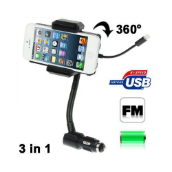 Transmetteur FM iPhone 5 iPod Touch G5 support kit mains libres - Transmetteur FM smartphone - www.yonis-shop.com