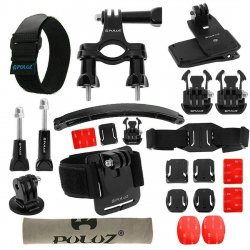 PULUZ 24 in 1 Bike Mount Accessories Combo Kit (Wrist Strap + Helmet Strap + Extension Arm + Quick Release Buckles + Surface ...