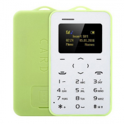 AEKU C6 Card Mobile Phone, Network: 2G, 4.8mm Ultra Thin Pocket Mini Slim Card Phone, 0.96 inch (Green) - Téléphone portable ...