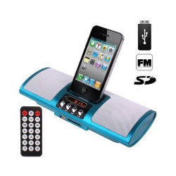 Enceinte Portable iPhone Station d'Accueil Radio Jack USB SD Rouge