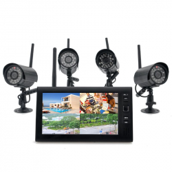 "Wireless Home Security Camera System \""Securial\\"" - 4x Indoor Wireless Cameras, 7 Inch Wireless Monitor, Built-in DVR - Tou..."