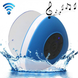 Mini Enceinte Bluetooth Triangle Kit Mains libres Ventouse Waterproof Salle de Bain Douche Bleu - Enceinte Bluetooth - www.yo...