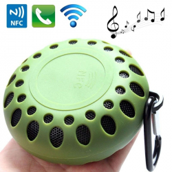 Mini Enceinte Bluetooth Ronde Kit Mains Libres NFC Waterproof Outdoor Vert