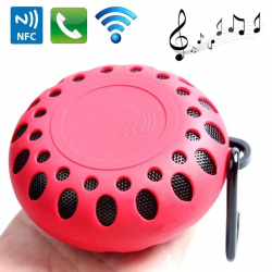Mini Enceinte Bluetooth Ronde Kit Mains Libres NFC Waterproof Outdoor Rouge - Enceinte Bluetooth - www.yonis-shop.com