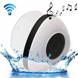 Mini Enceinte Bluetooth Triangle Kit Mains libres Ventouse Waterproof Salle de Bain Douche Blanc