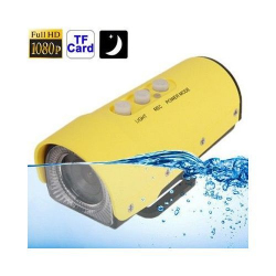 Camera sport action FULL HD 1080p étanche 20M jaune USB Micro SD