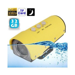 Camera sport action FULL HD 1080p étanche jaune USB Micro SD 32 Go