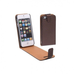 Housse iPhone 5 étui de protection Marron carbone 4 pouces