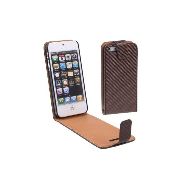 Housse iPhone 5 étui de protection Marron carbone 4 pouces - Housse / étui iPhone - www.yonis-shop.com
