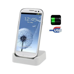 Dock de synchronisation Samsung Galaxy S3 I9300 chargeur Blanc