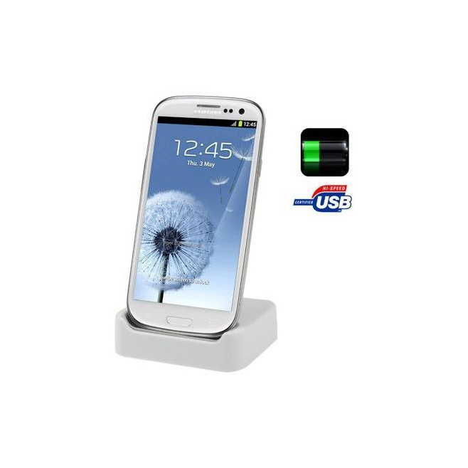 Dock de synchronisation Samsung Galaxy S3 I9300 chargeur Blanc - Station d'accueil smartphone - www.yonis-shop.com