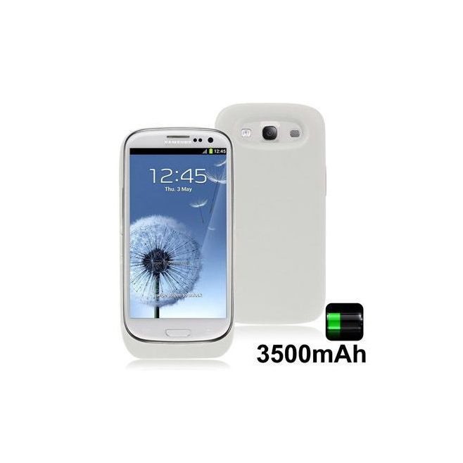 Batterie coque Samsung Galaxy S3 I9300 chargeur 3500 mah Blanc