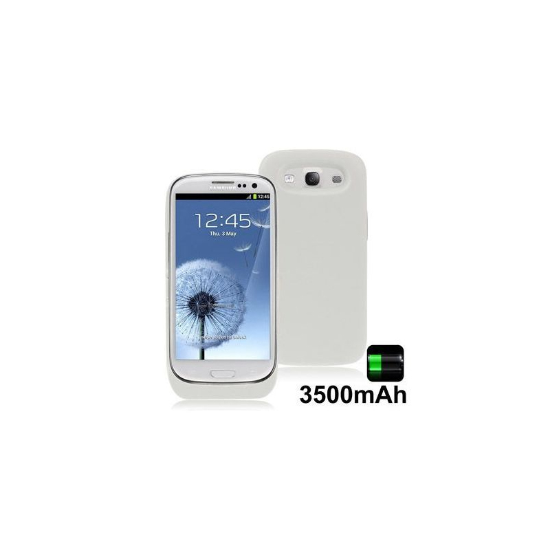 batterie coque samsung galaxy s3 i9300 chargeur 3500 mah blanc. Black Bedroom Furniture Sets. Home Design Ideas