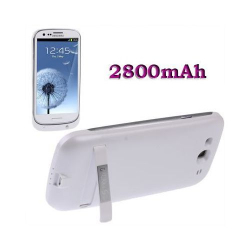 Batterie coque Samsung Galaxy S3 I9300 chargeur 2800 mah Blanc Batterie coque Téléphone Samsung YONIS