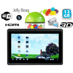 Tablette tactile Android 4.1 Jelly Bean 7 pouces HDMI 12 Go Noir
