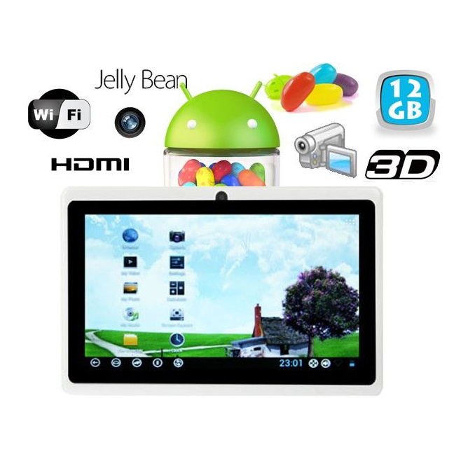 Tablette tactile Android 4.1 Jelly Bean 7 pouces 12 Go Blanc