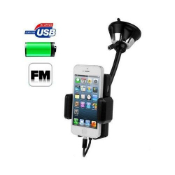 Transmetteur FM Universel kit mains libres support voiture ventouse