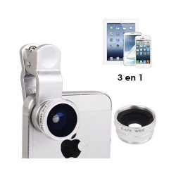 Objectif Fisheye grand angle macro 3 en 1 smartphone universel Gris Accessoires Universels YONIS