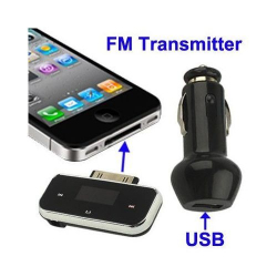 Mini transmetteur FM iPhone 4 4S 3G 3GS iPod chargeur USB - Tout le stock - www.yonis-shop.com