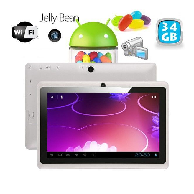 Tablette tactile Android 4.1 Jelly Bean 7 pouces capacitif 40 Go Blanc - Tablette tactile 7 pouces - www.yonis-shop.com