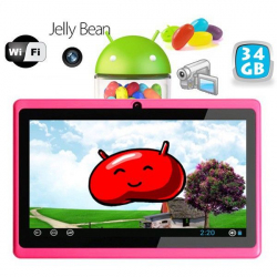 Tablette tactile Android 4.1 Jelly Bean 7 pouces capacitif 34 Go Rose