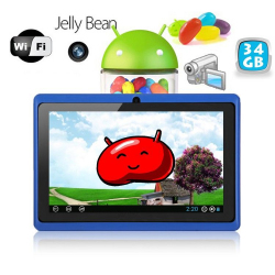 Tablette tactile Android 4.1 Jelly Bean 7 pouces capacitif 34 Go Bleu