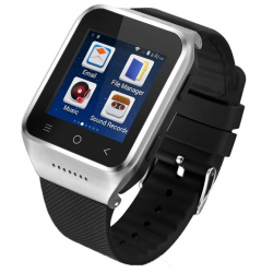 Montre Connectée Android KitKat 512 MB + 4 GB CPU Dual Core 1.2 GHz WiFi Bluetooth GPS 3G Argent