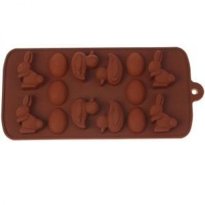 Moule silicone 14 pieces paques lapin oeuf canard chocolat marron