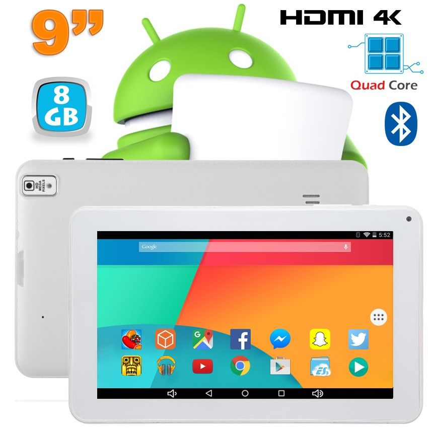Tablette 9 pouces Android 6.0 Tactile HDMI 4K 1,5GHz 1Go RAM 8Go