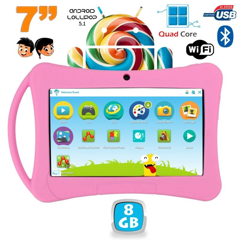 Tablette enfant 7 pouces Android 5.1 Bluetooth Quad Core 8Go Rose