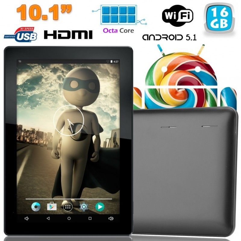 Tablette tactile Octa Core 10 pouces Android Lollipop 5.1 16Go Noir