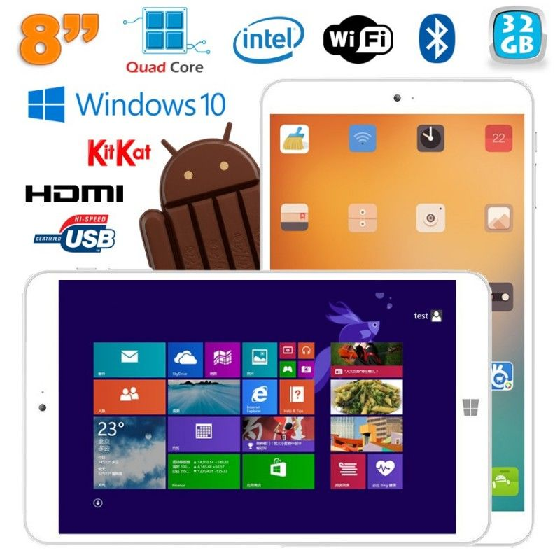 Tablette Windows 10 Android Dual Boot 8 pouces Intel Quad Core 32Go