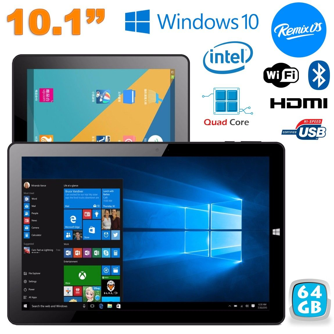 Tablette Dual Boot Windows 10 + Remix OS 2.0 4Go RAM 10.1 pouces 64Go